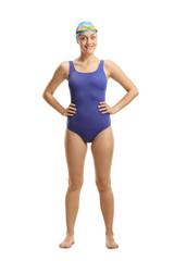 Full length portrait of a female swimmer