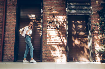Fashionable dressed young woman with shopping bags posing near brown metal shutters background. Wall mural