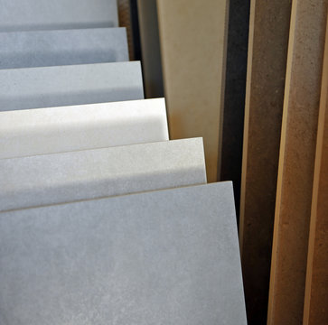 Exhibitor of porcelain stoneware for pavements, store of construction materials