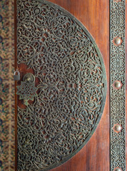 Wooden decorated copper plated door from the royal era, Cairo, Egypt