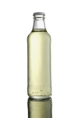 Glass Juice bottle isolated on white background with reflection