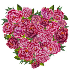 illustration of flowers heart. Colorful floral heart, drawing watercolor. Calligraphic design for Valentine's Day or weddings. Spring or summer design for invitation and greeting cards