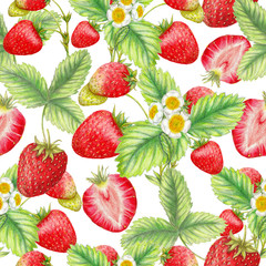 Seamless pattern of hand drawn strawberries