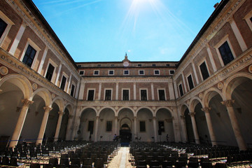 Urbino, Italy, ducal palace, ancient and historical medieval city