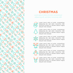 Christmas concept with thin line icons: Santa Claus, snowflake, reindeer, wreath, bells, decoration, candy cane, polar bear in hat, angel, mitten, candle, penguin, garland. Vector illustration.