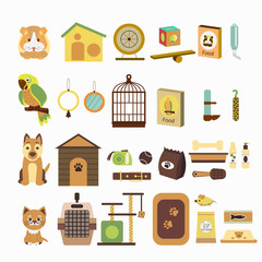 Set  icons with parrot, dog, cat, hamsters  and goods for pets. Vector illustration for banner or web page for vet clinic, pet shop or shelter.