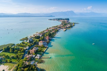 Aerial view on Sirmione city Wall mural