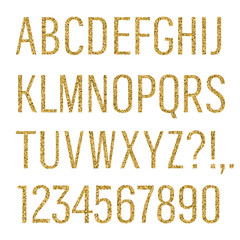 Glittering letters. Narrow sans serif font. Latin uppercase, numbers, punctuations isolated on white background. Vector