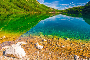 stones on the bottom of the lake, clear water, clear lake Morskie Oko in the Tatras