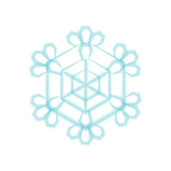 Cute realistic snowflake for poster, banner, logo, icon, invitation. For seasonal illustration, winter or new year or christmas promotion, party. Vector snow illustration. Isolate without background.
