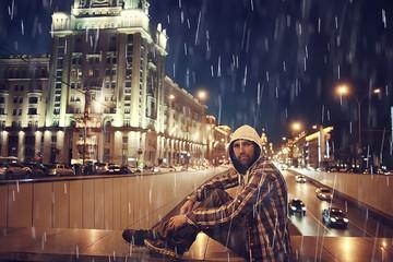 night rain city lights man, concept of loneliness, sad weather, stress, urban environment, traffic jams