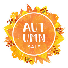 Vector illustration of autumn sale label. EPS 10