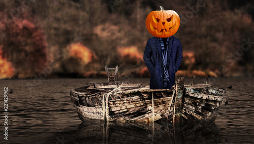 Halloween scary pumpkin headed ghost person on a boat floating