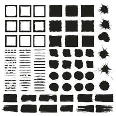 Big set of hand drawn frames, borders, lines, dividers, spots, blots. Vector. Ink texture
