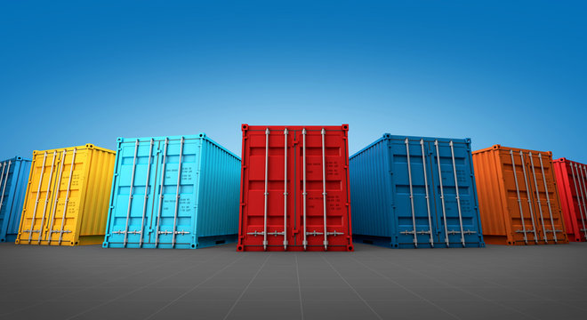 Stack of containers box, Cargo freight ship for import export 3D