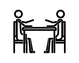 couple in the table figures silhouette icon