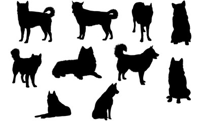 Alaskan Malamute Dog svg files cricut,  silhouette clip art, Vector illustration eps, Black  overlay