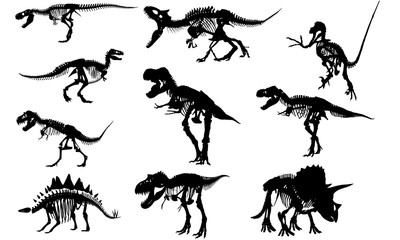 Fossils Dinosaur svg files cricut,  silhouette clip art, Vector illustration eps, Black  overlay