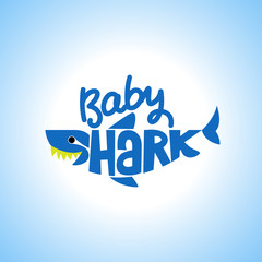 Baby Shark Doo Doo Doo T-Shirts, Hoodie, Tank. Vector illustration text for clothes. Inspirational quote card, invitation, banner. Kids calligraphy background. lettering typography