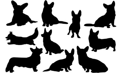 Cardigan Welsh Corgi Dog svg files cricut,  silhouette clip art, Vector illustration eps, Black  overlay