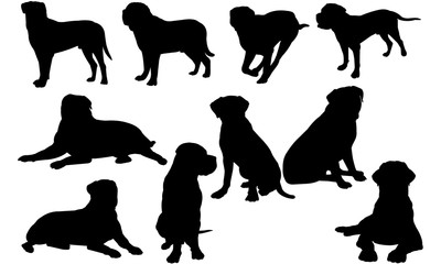Bullmastiff Dog svg files cricut,  silhouette clip art, Vector illustration eps, Black  overlay