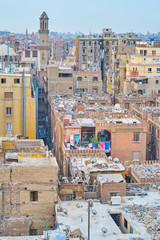 The chaotic buildings of islamic Cairo, Egypt