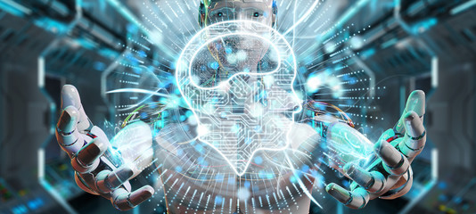 White humanoid using digital artificial intelligence icon hologram 3D rendering