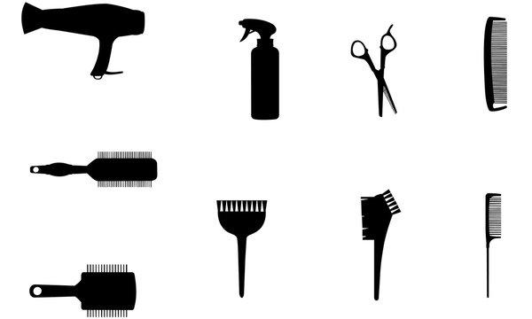 Hairdresser Tools Silhouette, SVG,  cricut Clipart,  Vector, eps, cut file, png, ai, salon,spray, brush, comb