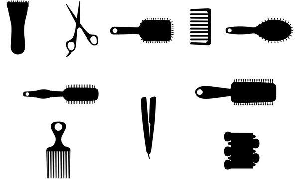 Hairdresser Tools Silhouette, SVG,  cricut Clipart,  Vector, eps, cut file, png, ai, salon, scissors, hair brush, comb, flat iron