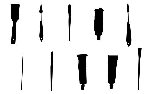 Artist Tools Silhouette, Art Brush SVG, Paint cricut Clipart,  Vector, eps, cut file