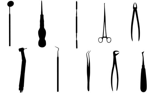 Dentist Tools Silhouette, Dental Hygienist Medical Equipment SVG,  cricut Clipart,  Vector, eps, cut file, png, ai,
