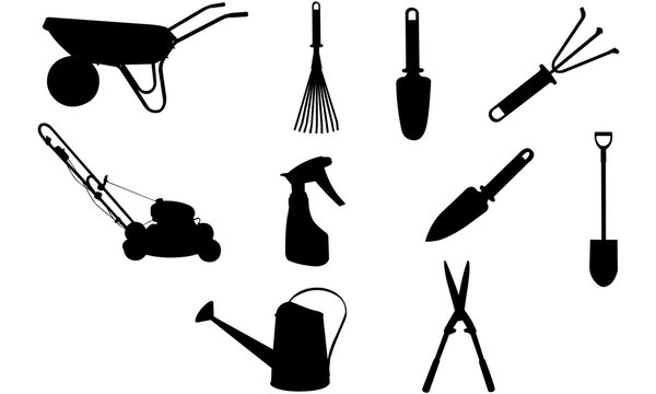 GardenTools Silhouette, SVG, Construction Tools  cricut Clipart,  Vector, eps, cut file, png, ai, lawn mower, watering can, spade, shears