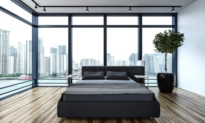 Modern minimalist bedroom interior in the city