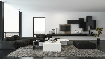 3d render of living room with couch and shelves