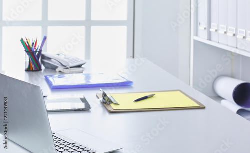Workspace Desktop Doents On The Office Table