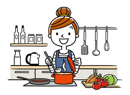 イラスト素材:主婦、料理