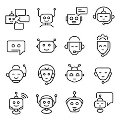 Chat bot face icon line art set