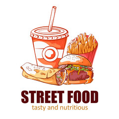 Street food banner, tasty and nutritious logo
