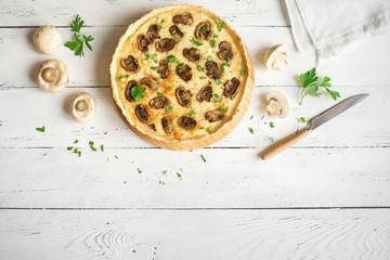 Fotobehang - Mushroom Quiche Pie