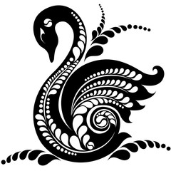 silhouette of a swan with a pattern