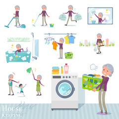 flat type Purple clothes grandmother_housekeeping