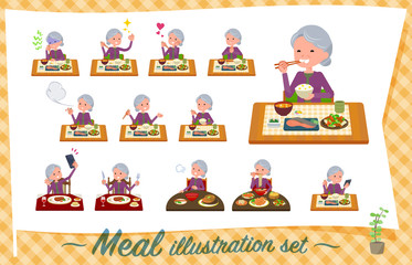 flat type Purple clothes grandmother_Meal