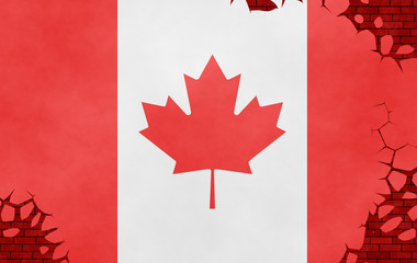 Illustration of a Canadiann flag, imitation of a painting on the cracked wall