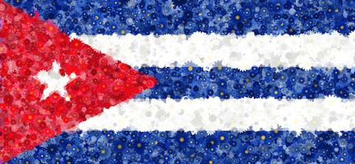Illustration of a Cuban flag with a flower pattern