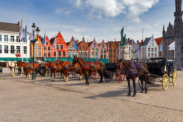 Brugge. The central market square.