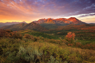 Printed roller blinds Mountains Fall sunrise in the Wasatch Back, Utah, USA.
