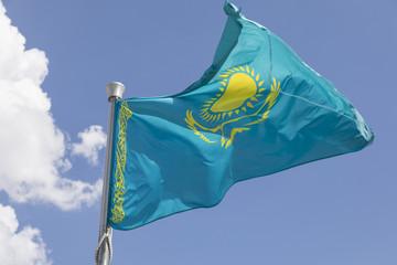 Flag of Kazakhstan blowing in the wind