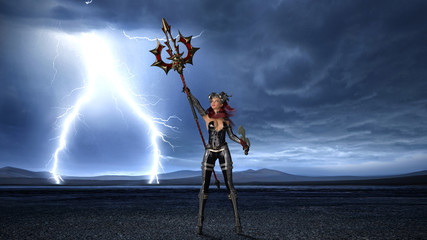 Ancient warrior queen, female fantasy fighter in battle armor holding medieval spear and sword, 3D rendering