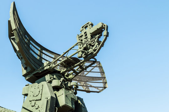 radar installation of anti-Aircraft missile system against the blue sky
