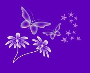 Neon background with butterflies and flowers.